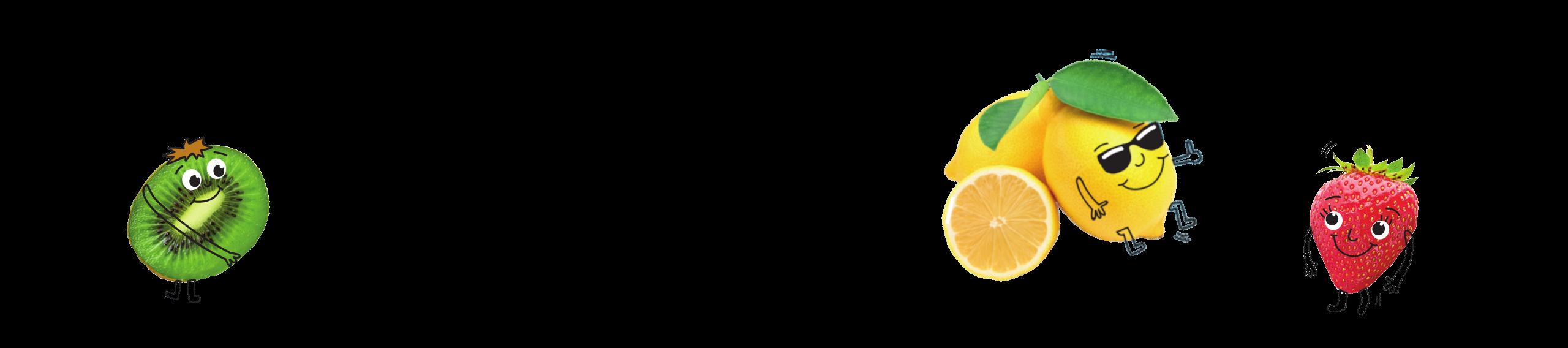 Bloc Traubenzucker Früchte Banner mit Kiwi, Zitrone und Erdbeere